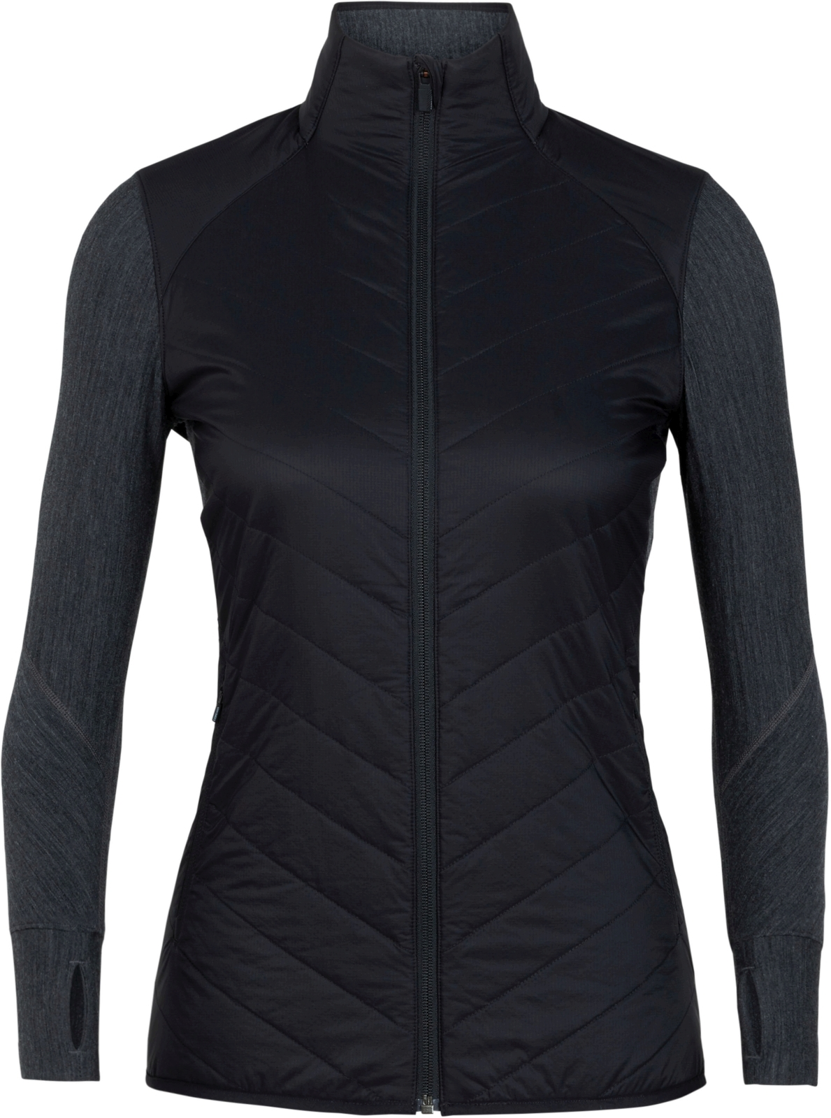 Icebreaker Womens Descender Hybrid Jacket - black/jet hthr XL