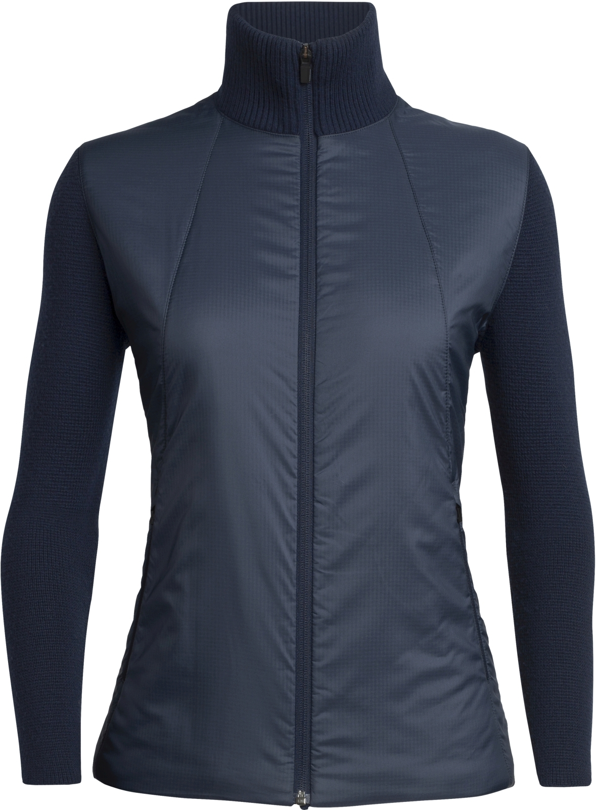 Icebreaker Womens Lumista Hybrid Sweater Jacket - midnight navy L