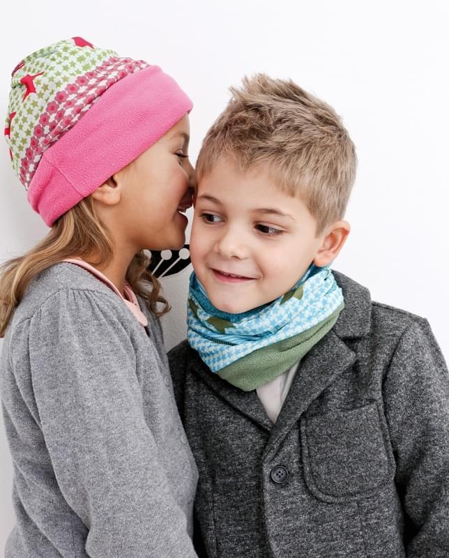089b622b31d ... Dětský šátek Lässig Twister Kids Fleece - flowers pink choco fleece  choco