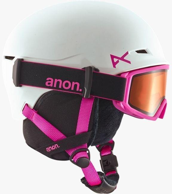 Dětská lyžařská přilba a brýle Anon Define - white/pink S/M
