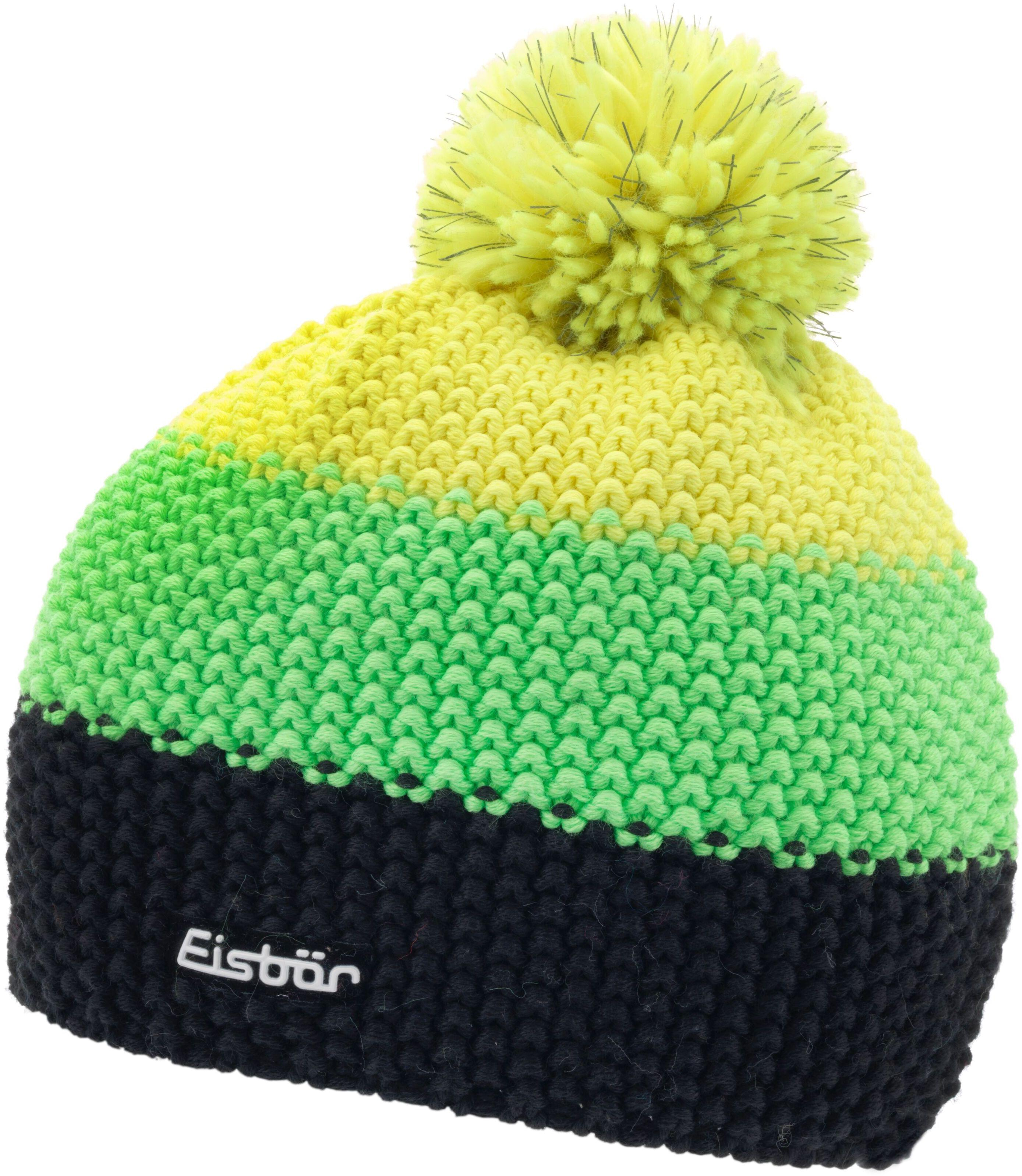 1ea17c39194 Zimní čepice Eisbär Star Safety Pompon MÜ - black lightgreen lightyellow