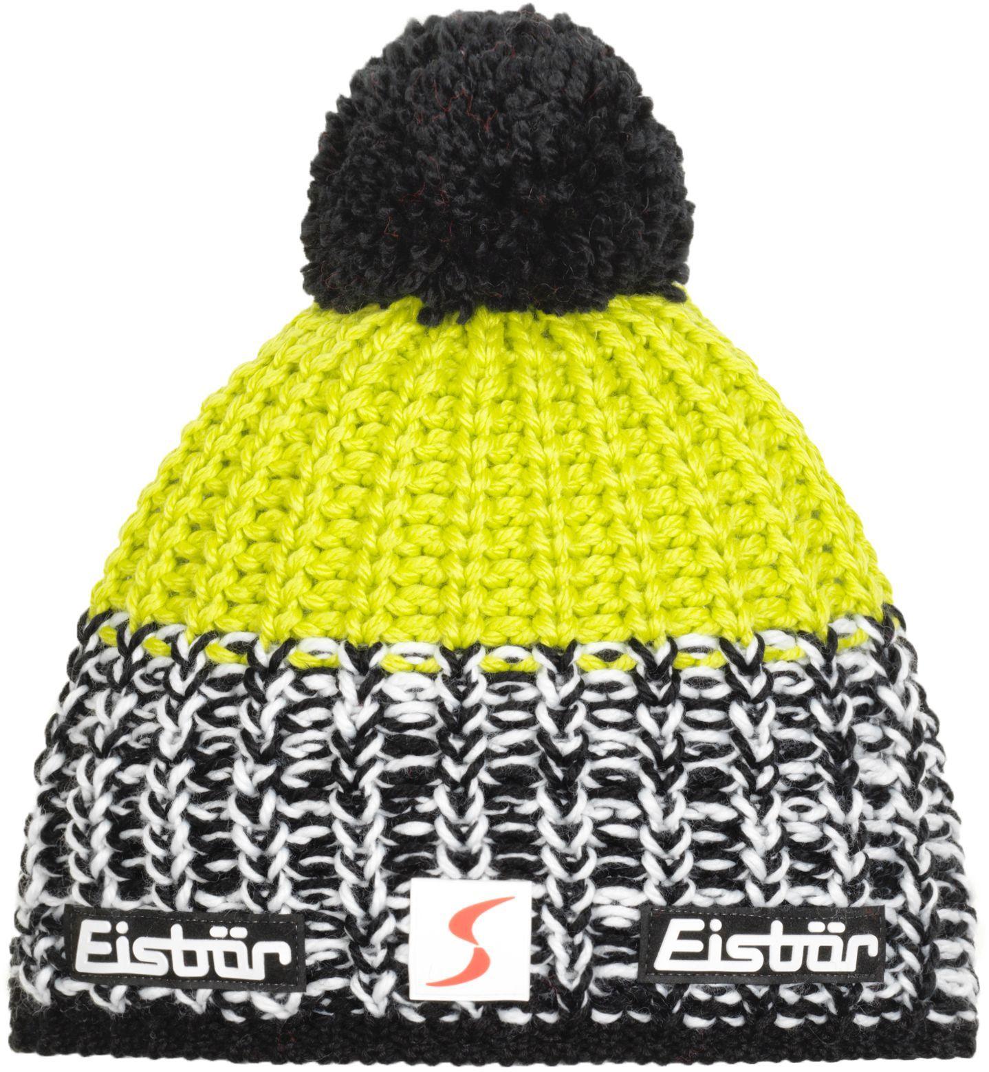 Zimní čepice Eisbär Focus Pompon MÜ SP - schwarz white lime - Ski a ... 4e263a5b75
