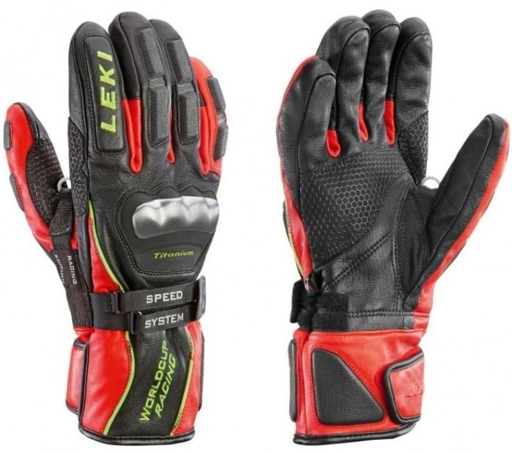 Lyžařské rukavice Leki Worldcup Titanium S Speed System - black red yellow 6c527349bf