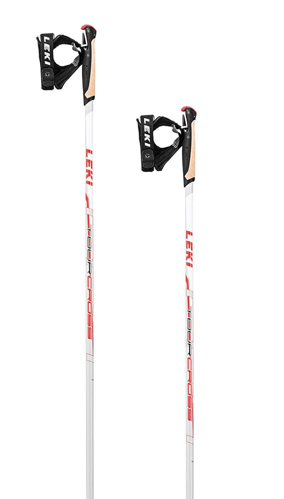 Leki Tour Cross white-anthr-neonred 155