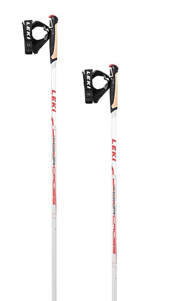 Leki Tour Cross white-anthr-neonred 140
