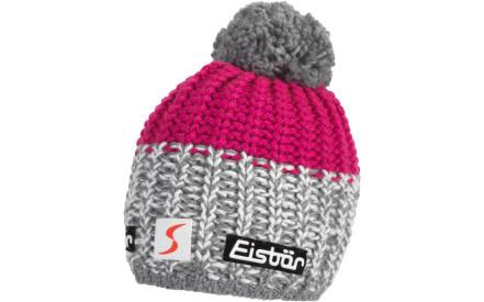 10909352735 Zimní čepice Eisbär Focus Pompon MÜ SP - graumele white deep pink