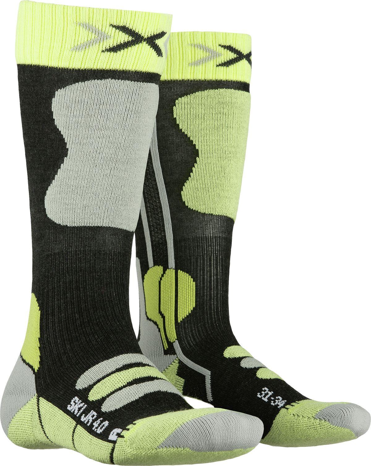X-Socks Ski Junior 4.0 - anthracite melange/green lime 31-34