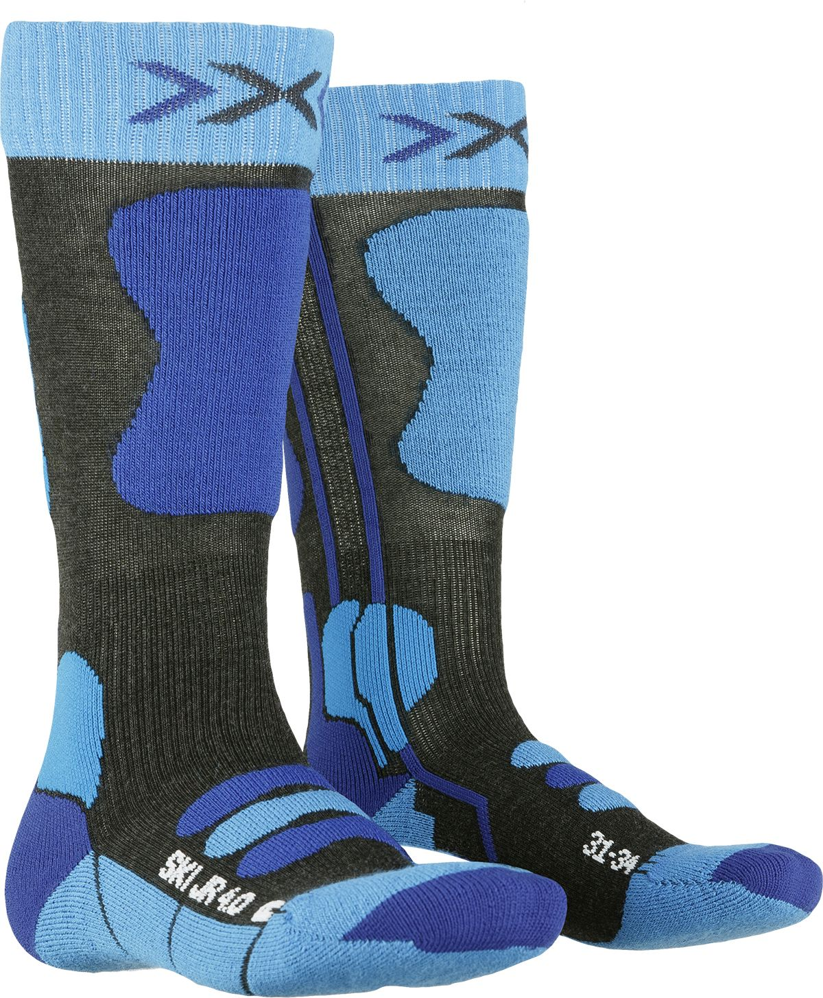X-Socks Ski Junior 4.0 - anthracite melange/electric blue 31-34