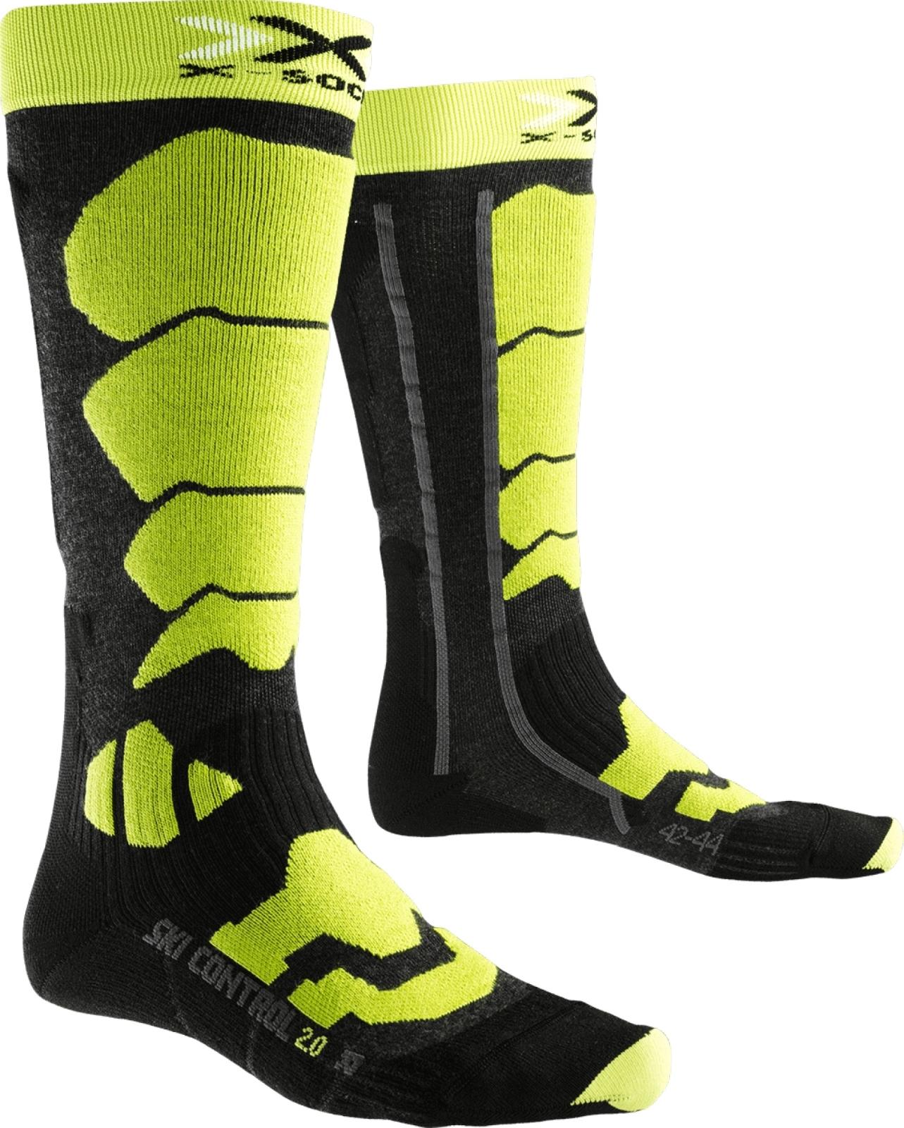 X-Socks Ski Control 2.0 Socks Men - Anthracite/Green Lime 39-41