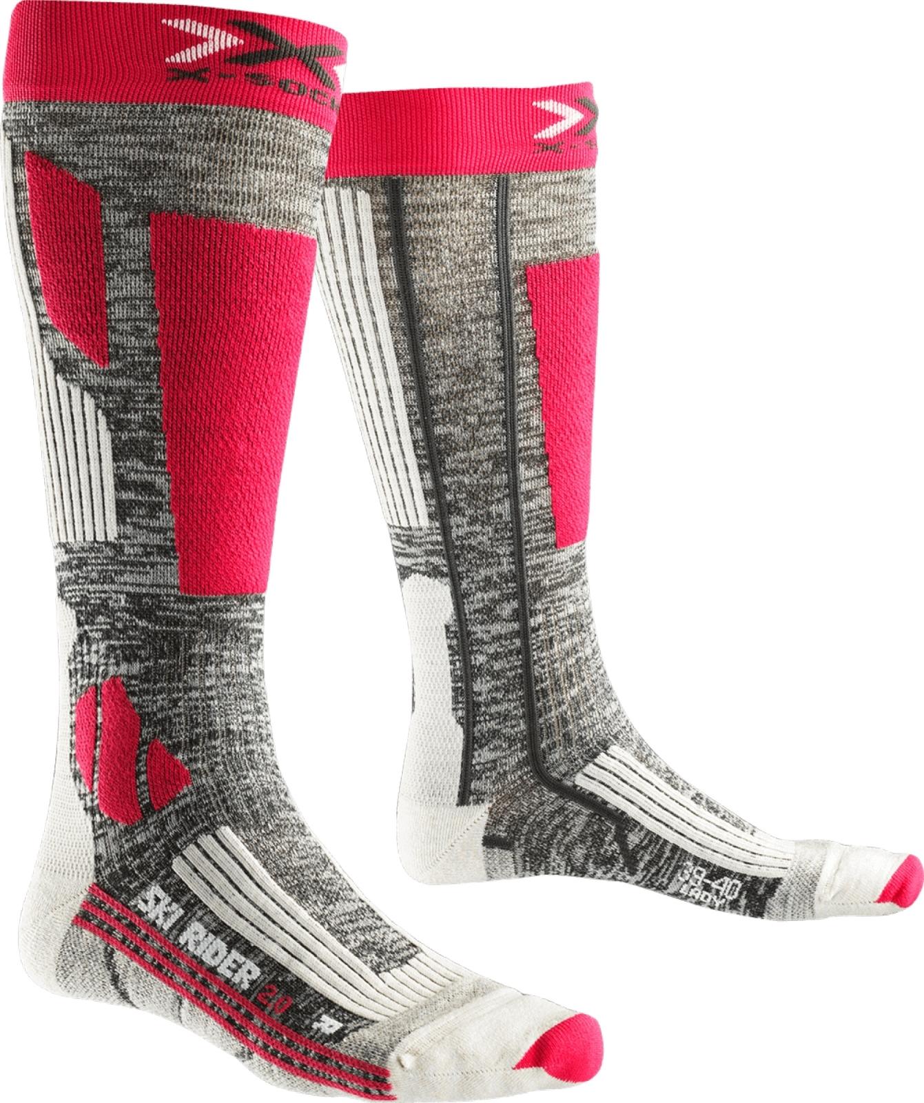 X-Socks Ski Rider 2.0 Socks Women - Grey Melange/Fuchsia 35-36