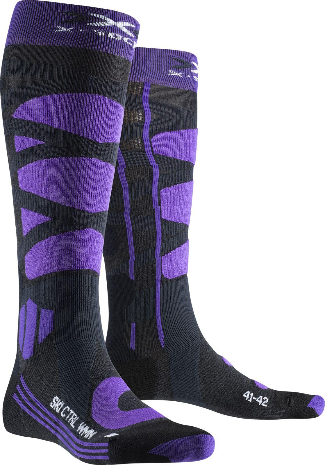 X-Socks Ski Control 4.0 Wmn - charcoal melange/purple 39-40